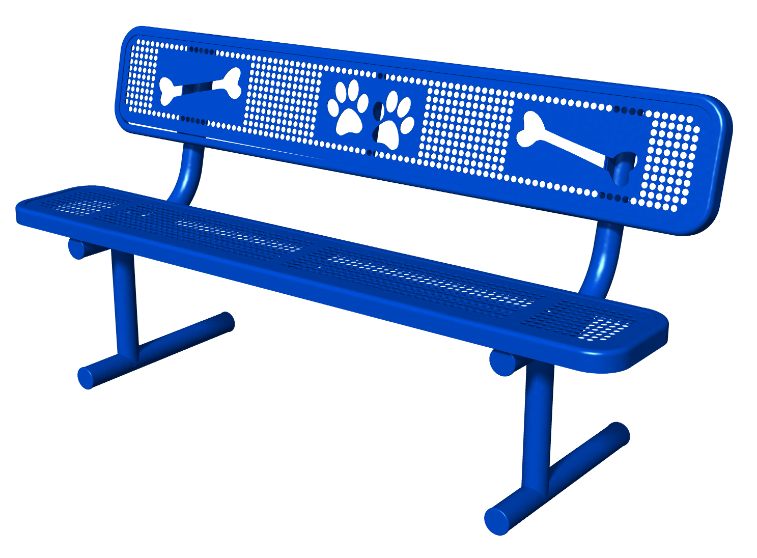 6' Bench with Back, Portable, Perforated with Laser Cut Paw Prints and Bones