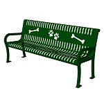 6' Lexington Bench with Back, Perforated with Laser Cut Paw Prints and Bones